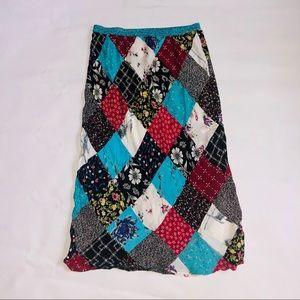 90's Vtg patchwork boho dress